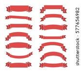 pink ribbon banners set....   Shutterstock . vector #577656982