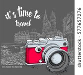 hand drawn vintage camera on... | Shutterstock .eps vector #577657276