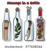 vector bottles set. message in... | Shutterstock .eps vector #577658266