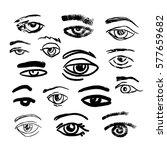 eyes set drawn linear  black... | Shutterstock .eps vector #577659682