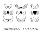 wings set with hearts for... | Shutterstock .eps vector #577677676