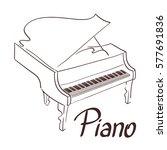 piano line art hand drawn... | Shutterstock .eps vector #577691836