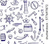hand drawn seamless pattern of... | Shutterstock .eps vector #577697872