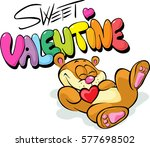 cute valentine design with bear ... | Shutterstock .eps vector #577698502