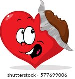 unpacked eaten chocolate heart  ... | Shutterstock .eps vector #577699006