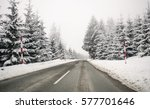 road in the fog. mysterious way....   Shutterstock . vector #577701646
