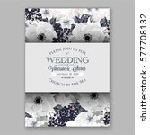 anemone wedding invitation card ... | Shutterstock .eps vector #577708132