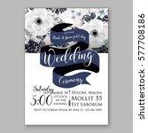 anemone wedding invitation card ...   Shutterstock .eps vector #577708186