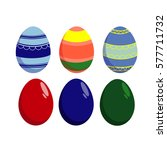 easter eggs decorated with a... | Shutterstock .eps vector #577711732
