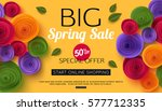 spring sale banner with paper... | Shutterstock .eps vector #577712335