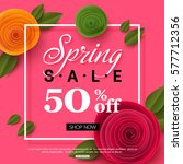 spring sale banner with paper... | Shutterstock .eps vector #577712356