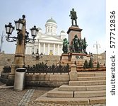 Small photo of HELSINKI, FINLAND - april, 4, 2016: St. Nicholas Church and a monument of Alexander II on the Senatorial area in Helsinki, Finland.