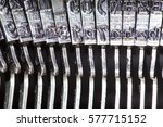 letters of an old typewriter | Shutterstock . vector #577715152