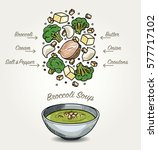 vector broccoli soup ingredients | Shutterstock .eps vector #577717102