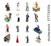 flat isometric musicians and... | Shutterstock .eps vector #577733356