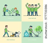 linear flat young volunteers... | Shutterstock .eps vector #577733386