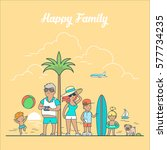 linear flat happy family on sea ... | Shutterstock .eps vector #577734235