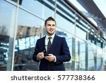 attractive young businessman... | Shutterstock . vector #577738366