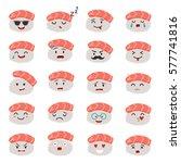 sashimi emoji vector set. emoji ... | Shutterstock .eps vector #577741816