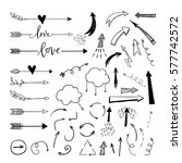 handdrawn arrows  borders set... | Shutterstock .eps vector #577742572