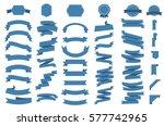 ribbon vector icon set on white ... | Shutterstock .eps vector #577742965