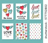 set of romantic greeting cards... | Shutterstock .eps vector #577752802