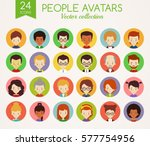 set of cute avatars in colorful ... | Shutterstock .eps vector #577754956