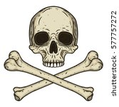human skull with two crossed... | Shutterstock .eps vector #577757272