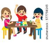 three happy friends kids... | Shutterstock .eps vector #577758145