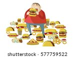 obese fat man eating a lot of... | Shutterstock .eps vector #577759522