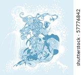 bizarre flower on grunge... | Shutterstock .eps vector #57776842