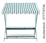 Small photo of Wooden market stand stall with blue white striped awning