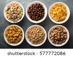 variety of cold cereals in... | Shutterstock . vector #577772086