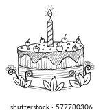 birthday cake doodle | Shutterstock .eps vector #577780306