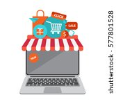 online shopping with laptop and ... | Shutterstock .eps vector #577801528