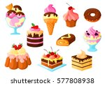 cakes  pies and desserts vector ... | Shutterstock .eps vector #577808938