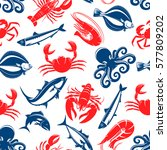 seafood vector seamless pattern ... | Shutterstock .eps vector #577809202
