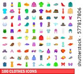 100 clothes icons set in... | Shutterstock .eps vector #577817806