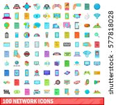 100 network icons set in... | Shutterstock .eps vector #577818028