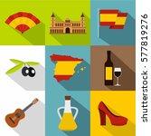 european spain icons set. flat... | Shutterstock . vector #577819276