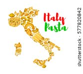 italy map with pasta. vector... | Shutterstock .eps vector #577820842