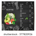 vegetables sketch chalk menu on ... | Shutterstock .eps vector #577820926