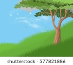 tree on hill vector nature... | Shutterstock .eps vector #577821886