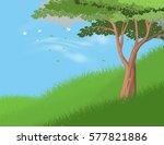 tree on hill vector nature... | Shutterstock .eps vector #577821886