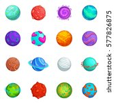 fantastic planets icons set.... | Shutterstock . vector #577826875