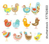 Stock vector collection of cute colorful chickens 57782803