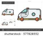 ambulance car vector line icon... | Shutterstock .eps vector #577828552