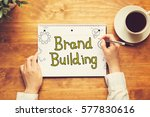 brand building text with a... | Shutterstock . vector #577830616