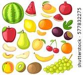 set of fruit. cartoon icons.... | Shutterstock .eps vector #577832275