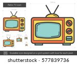 retro tv vector line icon... | Shutterstock .eps vector #577839736